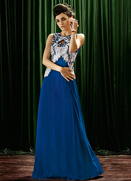 Blue Crepe Anarkali Gown