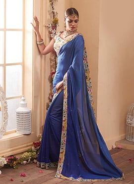 Blue Crystal Embellished Saree