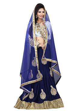 Blue Embroidered A Line Lehenga Choli