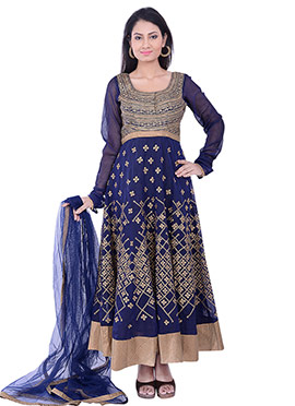 Blue Embroidered Anarkali Suit