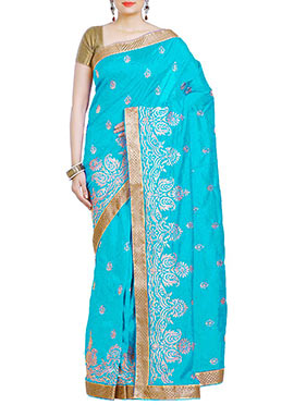 Blue Embroidered Art Silk Saree