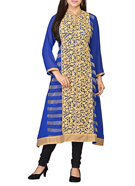 Blue Embroidered Georgette Long Kurti