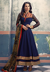 Blue French Chiffon Ankle Length Anarkali Suit