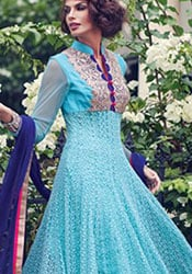 Blue Georgette Ankle Length Anarkali