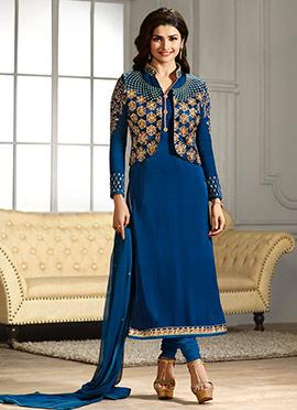 Blue Jacket Model Straight Suit