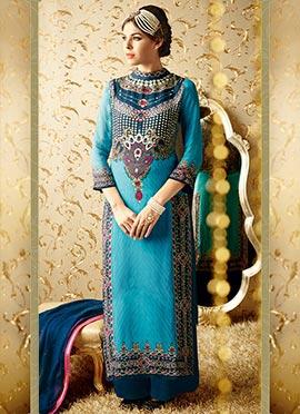 Blue Georgette Palazzo Suit