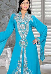 Blue Georgette Plus Size Fustan Dress