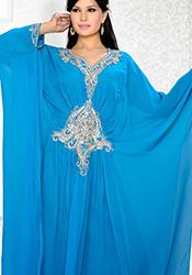 Blue Georgette Plus Size Kaftan Dress