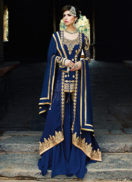 Blue Georgette Sharara Suit
