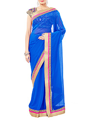 Blue Hand Embellished Border Double Blouse Saree