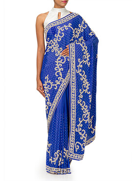 Blue Heavy Embellished Crepe Saree