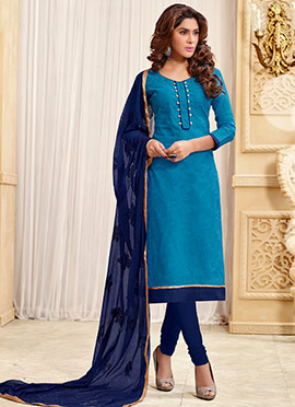 Blue Jacquard Churidar Suit