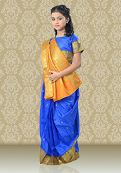 Blue Satin Kids Saree