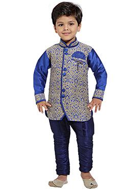 Blue N Beige Breeches Style Kids Sherwani