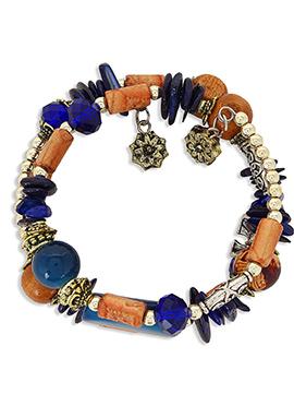 Blue N Beige Crystal Studded Bracelet