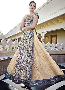 Blue N Beige Embroidered Salwar Suit