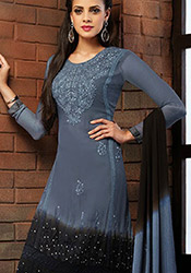 Grey N Black Chiffon Churidar Suit