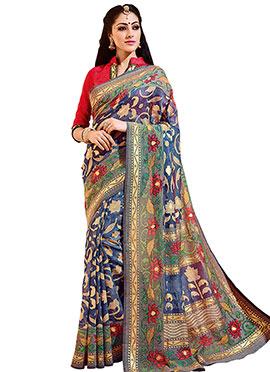Blue N Cream Bhagalpuri Silk Saree