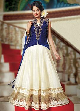 Blue N Cream Velvet Dupion Anarkali Suit