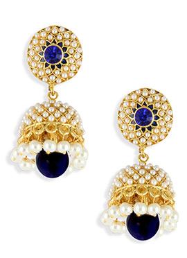 Blue N Gold color Moti Embellished Jhumka