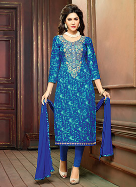 Blue N Green Cambric Cotton Straight Suit