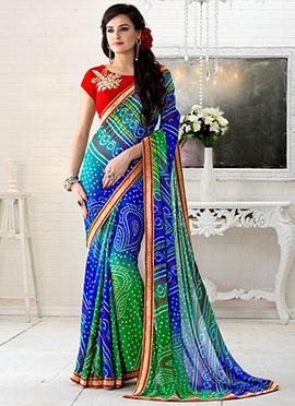 Blue N Green Georgette Bandhini Saree