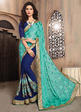 Blue N Green Half N Half Saree