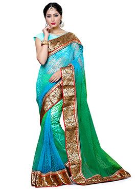 Blue N Green Net Saree