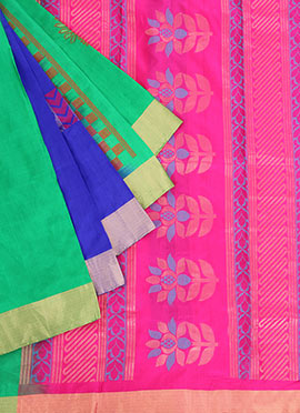 Blue N Green Pure Silk Pothys Saree