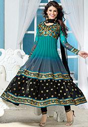 Blue N Grey Georgette Anarkali Suit