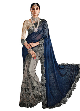 Blue N Grey Half N Half Saree