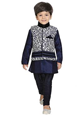 Blue N Off White Jacket Style Kurta Pyjama