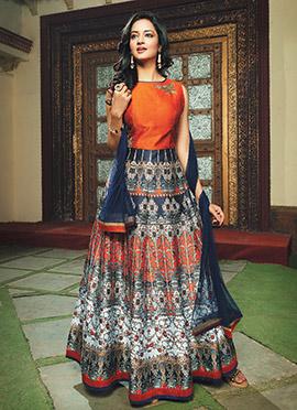 Blue N Orange Anarkali Suit