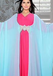 Blue N Pink Georgette Plus Size Fustan Dress