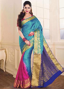 Blue N Pink Tussar Silk Jacquard