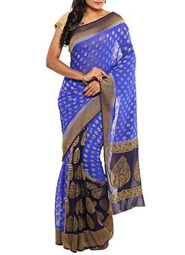 Blue N Purple Chiffon Jacquard Patli Pallu Saree