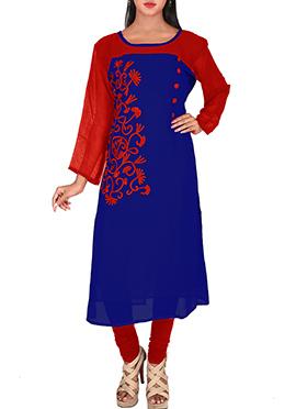 Blue N Red Georgette Kurti