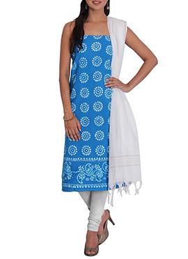 Blue N White Cotton Printed Churidar Suit