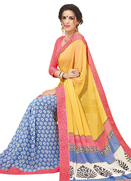 Blue N Yellow Printed Half N Half Saree
