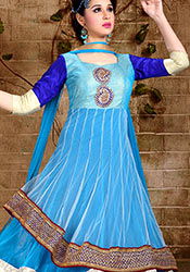 Blue Net Layered Ankle Length Anarkali Suit