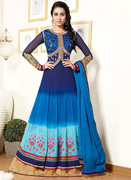 Blue Ombre Georgette Anarkali Suit