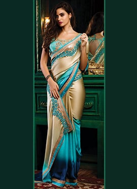 Blue Ombre N Beige Satin Saree