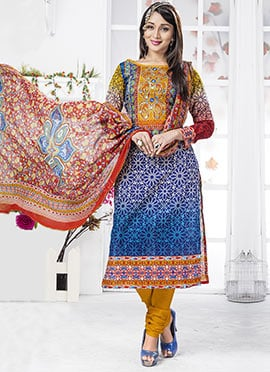 Blue Ombre Printed Churidar Suit