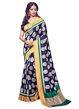Blue Printed Bhagalpuri Silk Saree