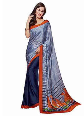 Blue Printed Half N Half Saree