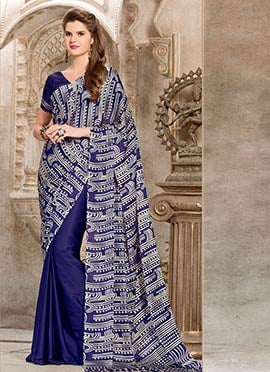 Blue Printed Half N Half Saree