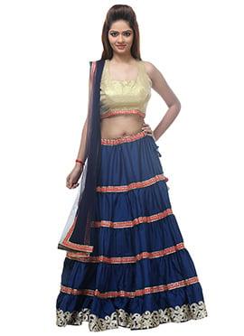 Blue Raw Silk A Line Tiered Choli