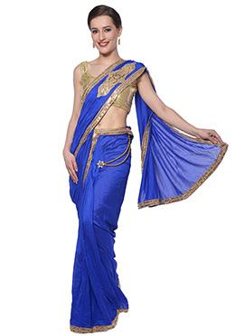 Blue Ready Pleated Saree