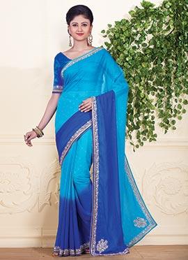 Blue Shaded Chiffon Saree