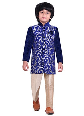 Blue Silk Blend Kids Sherwani